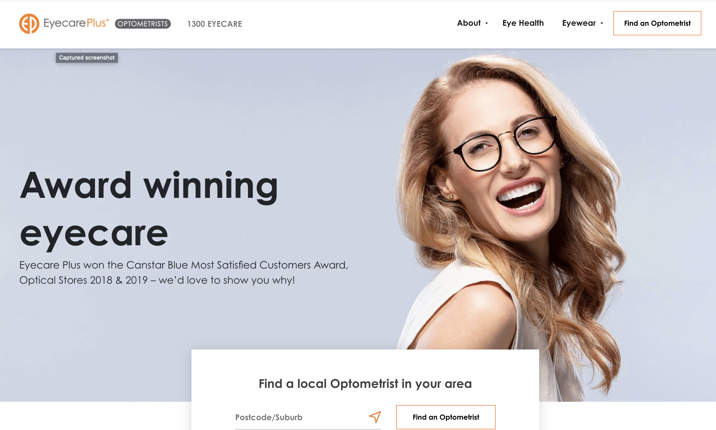 Eyecare Plus homepage